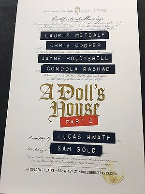 A Doll's House Part 2 - Laurie Metcalf/Chris Cooper Window Card-Broadway