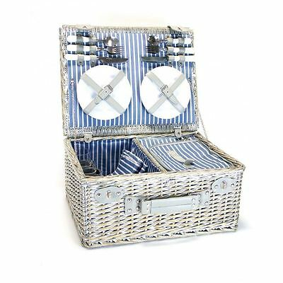 Luxury 4 Person Wicker Picnic Basket With Cooler Compartment Hamper Basket