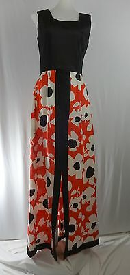 Mod VINTAGE Black White Red Floral 8 Sleeveless Polyester Maxi Dress Front Slit