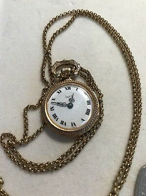 Lovely Vintage Swiss Made Kurz Necklace Wind Up Watch Womans Working