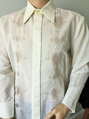 Embroidered Cream Men's Dress Shirt 70's Retro Collar Poly-Cotton 44-46in L - XL