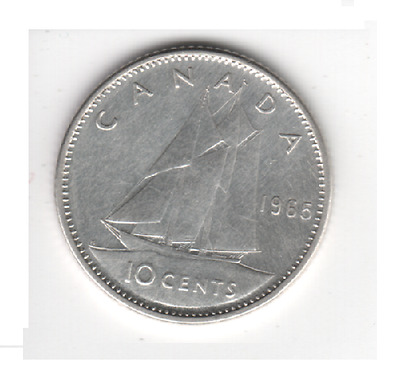 1965 CANADA 10 Cent 80% SILVER Dime Canadian Collector COIN MrGoodCents #D65-CAN