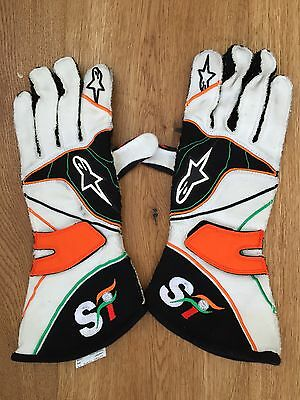 2012 used pair of Force India gloves from Jules Bianchi