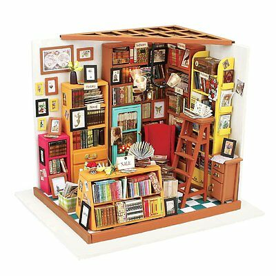 Robotime DIY-Wooden Dollhouse Kits- Books House Woodcraft Construction Kit Dolls