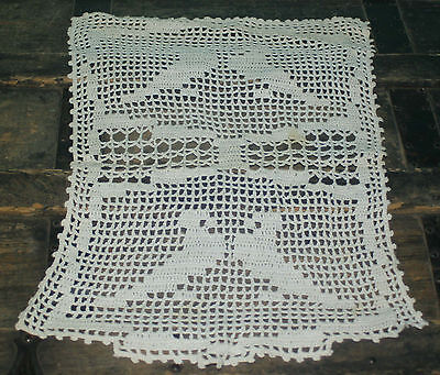 "Vintage Crochet Chair back Doily White with Birds 17"" x 12"""