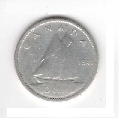 1941 CANADA 10 Cent SILVER Dime Canadian Collector COIN MrGoodCents #D41-CAN