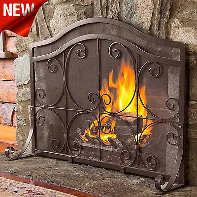 Fireplace Screens Doors Decorative Wrought Iron Fire Screen Home Steel Cooper