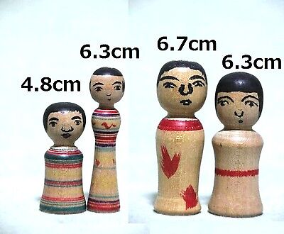 4pcs Antique Mini Kokeshi dolls Tsugaru Akira Kon Signed 4.8-6.7cm Rare one