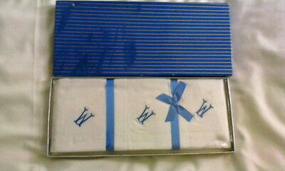 Vintage  3  X 100% Cotton Handkerchiefs BOXED Initial W or M