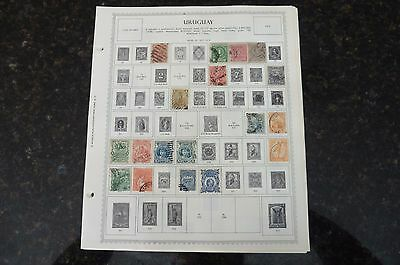 A2 Lot of Uruguay stamps 1877-1965 hinged in 10 Minkus Album Pages