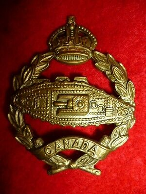 "C56 - Canadian Armoured Corps KC ""Tank Corps"" Cap Badge - Canada WW2"