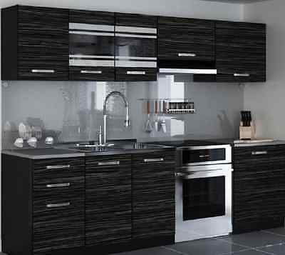 Brand New Modern kitchen Complete set 240cm 7units/cabinets KING'S  EBONY cheap.