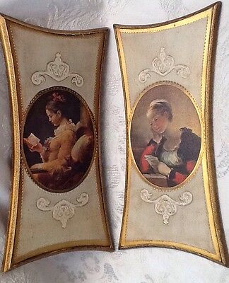 Pair of Vtg. Beautiful Ladies Italian Florentine Tole Gilt Wood Wall Plaques 11""