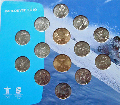 Canada 2010 Mint Vancouver Winter Olympics Set of 14 Coins Unc