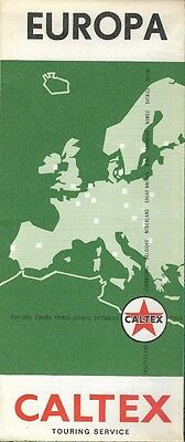 1965 CALTEX Road Map EUROPE Germany Denmark United Kingdom France Italy Norway