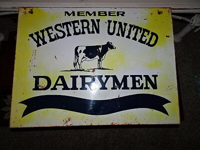 Vintage Member Western United Dairymen Metal Farm Sign - Double Sided