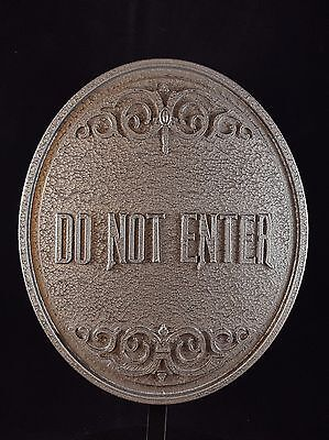 Haunted Mansion Ride Do Not Enter Plaque / Sign  - Stone / Pewter Shade