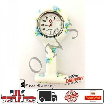 WHITE BLUE SMALL FLOWER Watch Nurse Fob Silicone Brooch Tunic Battery Doctor