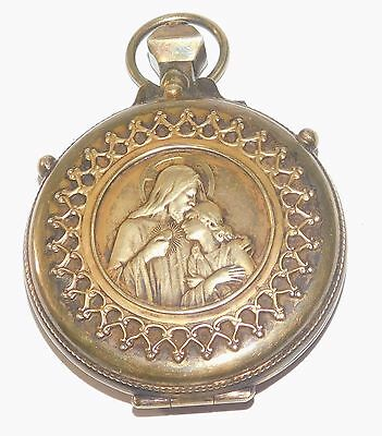 Large RARE Antique Ornate Sterling Silver Pocket Watch Style Rosary Case Heavy