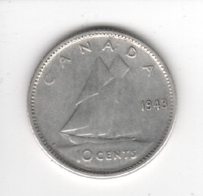 1943 CANADA 10 Cent SILVER Dime Canadian Collector COIN MrGoodCents #D43-CAN