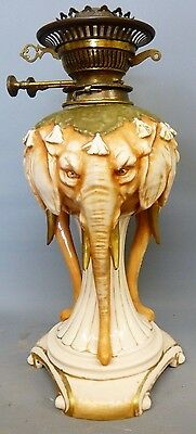 Large Alfred Stellmacher Duplex  Elephants  Oil Lamp