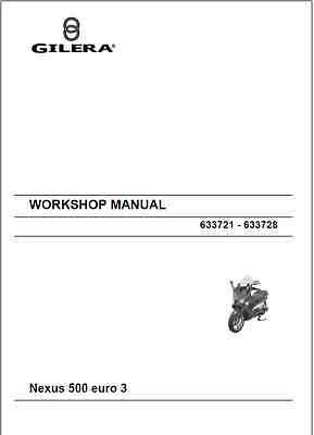 Gilera Nexus 500SP Euro 3 MK2 Service Repair Workshop Manual 2005 Onward (0137)
