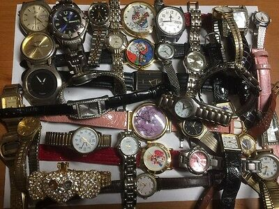 Lot of 34 quartz wrist watches not working for parts repairs #lot15