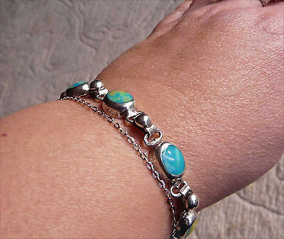 Colourful Gaspeite bracelet in 925 sterling silver size 7.5 - 8 inch wrist