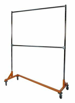 Commercial Grade Double Bar Rolling Z Rack With Nesting Orange Base (SET OF 2)