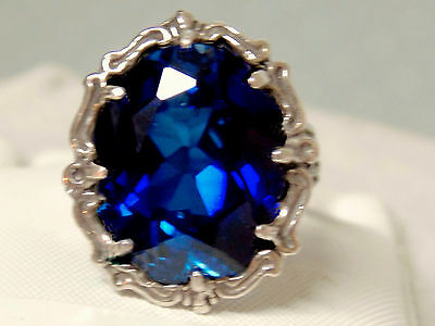 12ct blue sapphire filigree antique 925 sterling silver ring size 7 USA