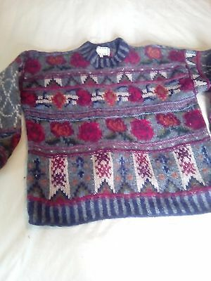 Vintage 100%wool Hand knitted Jumper Size M Monsoon