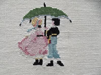 "Antique Linen Cross Stitch Embroidered 36""L Dresser Scarf Victorian Boy & Girl"