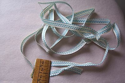 Vtg Cotton  Lace Trim For Antique Doll Dress PRETTY BLUE ON WHITE