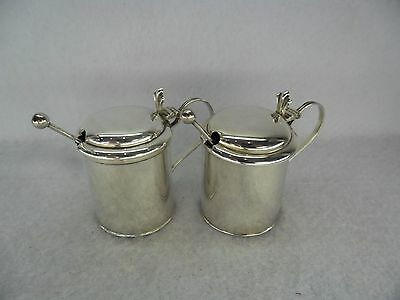 Pair of Solid Silver Tankard Mustard Pots with Spoons, Chester 1908