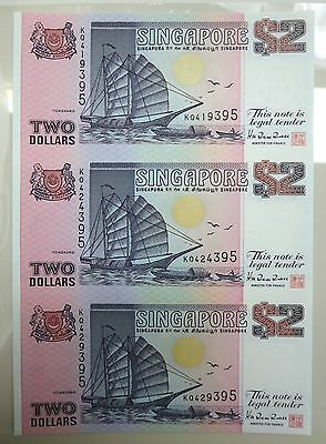 Singapore 3 in 1 uncut sheet $2 Two dollars boat ship series banknote 1992, UNC