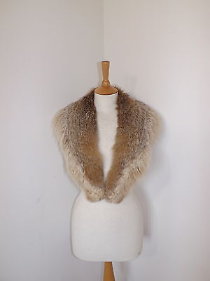 Vintage large real fox coyote fur collar wrap stole blonde brown
