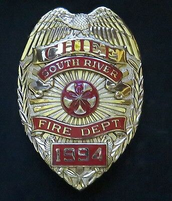 Vintage SOUTH RIVER FIRE Department CHIEF Breast BADGE Hallmarked BLACKINTON