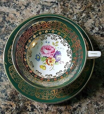 Green And Gold Royal Stafford Floral Roses Cup And Saucer