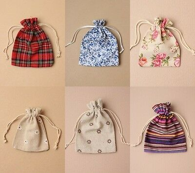 Linen Drawstring Pouch Bag Patterned Wholesale Bulk Lot Favour Gift Loot Sweets