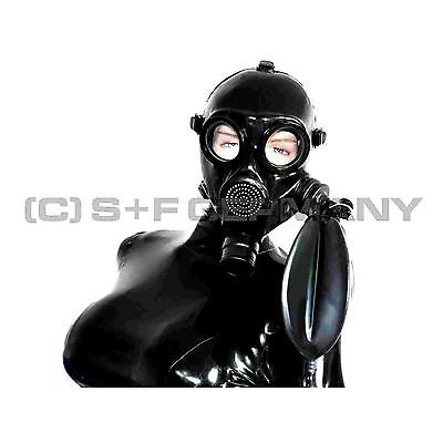 Gas Mask Latex Hood Rebreathing System F. Rubber Leather Pvc Catsuit Body Corset