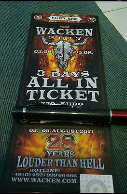 Wacken Open Air 3 Days All In Ticket Tickets 2017 W:O:A WOA 03-05.08.17 SOLD OUT