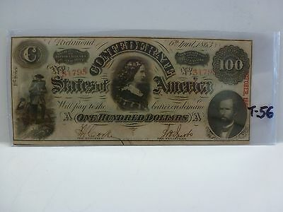 "T-56 1863 $100 Csa Confederate States Of America ""lucy Pickens"""