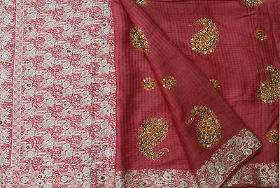 Vintage Heavy Beaded Embroidered Pink Sari 100%silk Fabric Antique Wrap Crafts