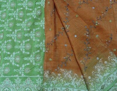 Vintage Sari 100%silk Embroidered Fabric Orange Sari Craft Decor Sarong Saree