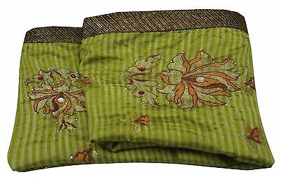 Vintage Floral Embroidered Sari Crafted Silk Fabric 5Yard Decor Wrap Green Saree