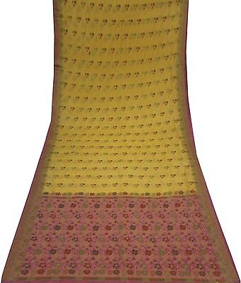 Uk Vintage Yellow Sari Floral Woven Fabric Bolly Wood Designer Saree Wrap Dress