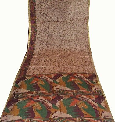 Vintage Sari Antique Abstract Printed Brown Sari Indian Cultural Saree Craft Art