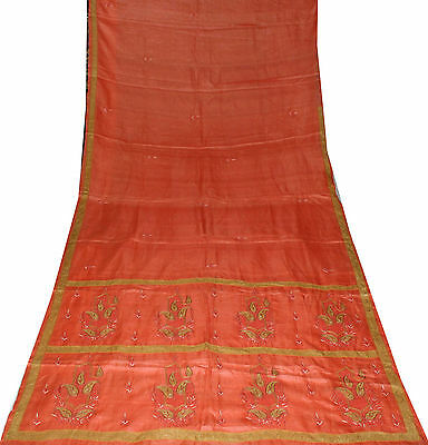 Orange Sari Patch Work Vintage Pure Silk Fabric Crafts Wrap Indian Women Dress