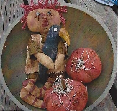 Pattern-Primitive Little Annie Doll, Pumpkins & Crow! Wonderful! You Are Special