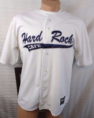 """Hard Rock Cafe New York Large """"Save the Planet"""" Baseball Jersey Shirt Button Up"""